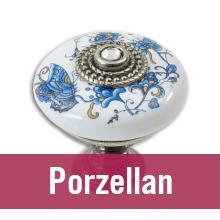 Möbelknopf aus Porzellan vor weißem Hintergrund