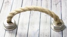 Möbelgriff Rope, Landhaus,  Vintage,  Seil Kunststoff metallisiert - Warmgrau, Schnur - Beige | 0165x50x37 LA:128