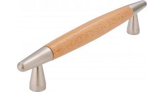 Möbelgriff München, Modern Holz - Buche natur lackiert, Zinkdruckguß - Matt vernickelt | 0166x12x31 LA:128