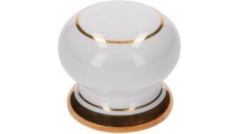 Möbelknopf Bad-Laer, Landhaus Porzellan - Weiß, Porzellandruck - Gold glänzend | 0035x31x30