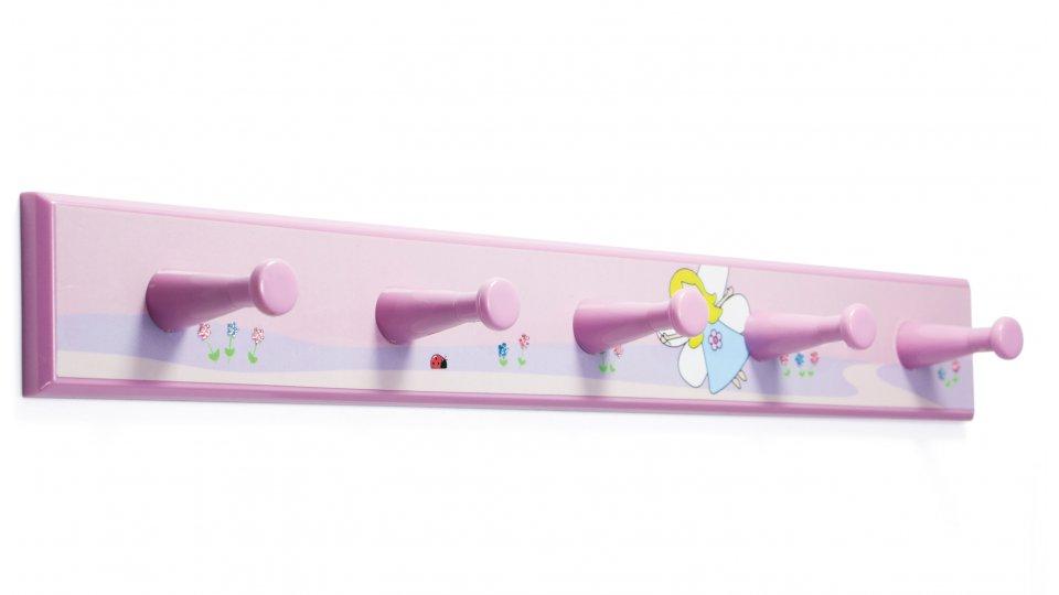 Hakenleiste Billerbeck, Kinder,  Fee Kunststoff bedruckt - Fee mit Steinchen, Kunststoff - Pink, Kunststoff - Pink | 400x50x48 LA:240