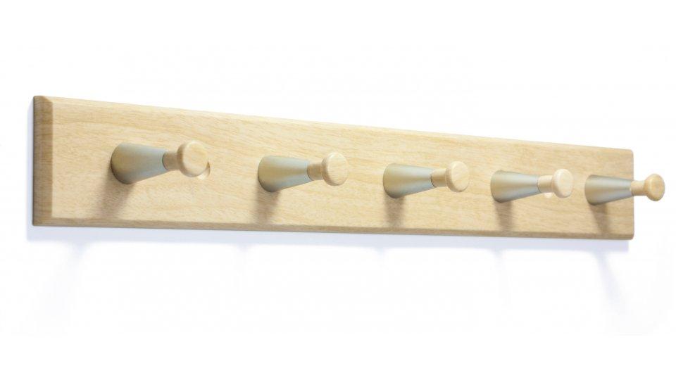 Hakenleiste Billerbeck, Klassisch,  Vintage Kunststoff Holzeffekt - Rotbuchenfarbig, Kunststoff metallisiert - Nickel, Kunststoff Holzeffekt - Rotbuchenfarbig | 400x50x48 LA:240