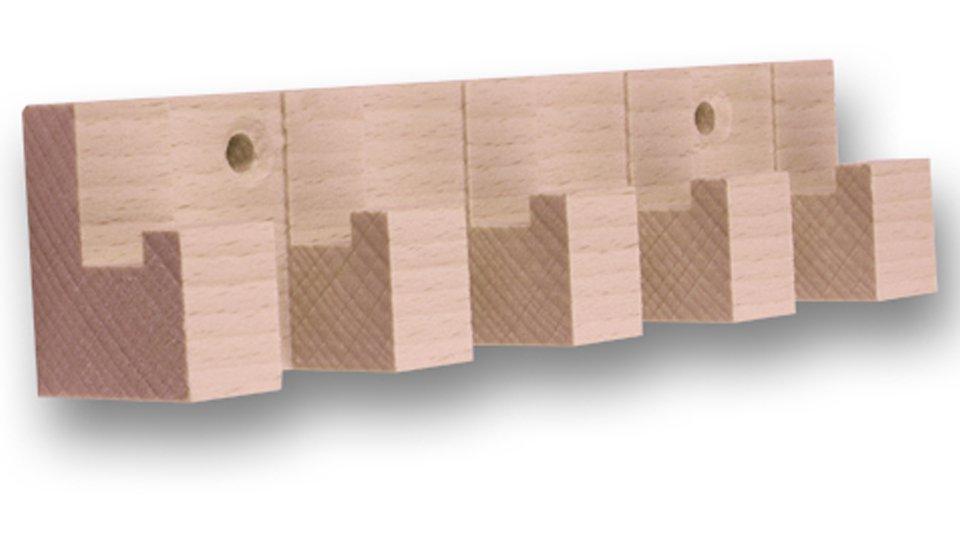Hakenleiste Dossenheim, Schlicht Holz - Buche roh, Menge - 1 Stück, Kunststoff metallisiert - Schwarz | 155x35x26 LA:104
