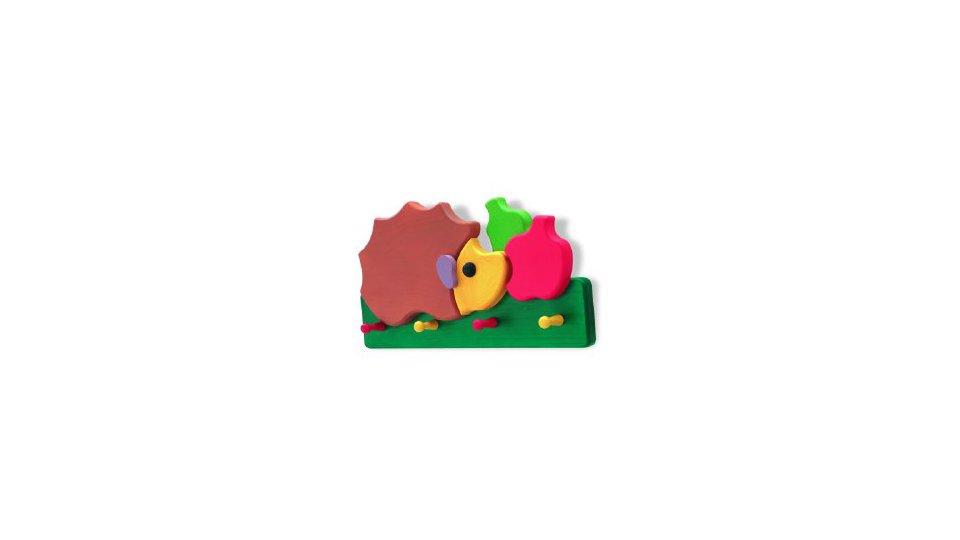 Hakenleiste Gerstetten, Kinder, Tier, Igel, Apfel, Holz - Bunt