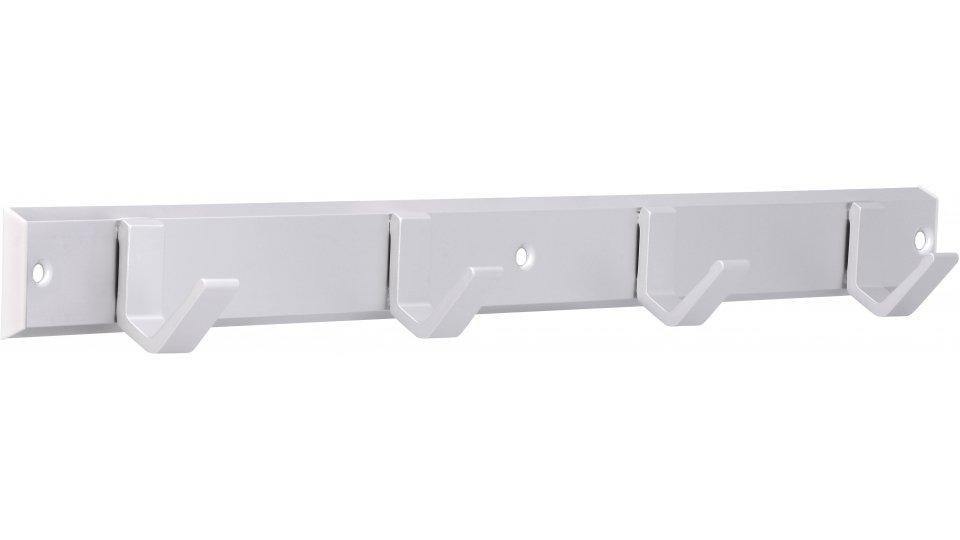 Hakenleiste Grefrath, Schlicht Aluminium - Kunststoff silber natur matt weiß | 0450x47x44 LA:216 x 2