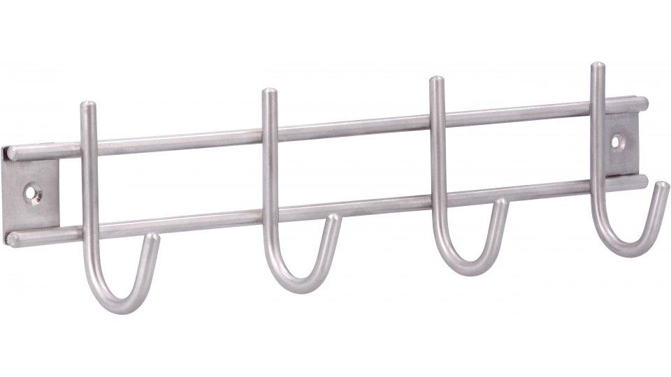 Hakenleiste Gründau, Modern,  Design Edelstahl - Edelstahl fein geschliffen , Menge - 1 Stück | 300x80x50 LA:276