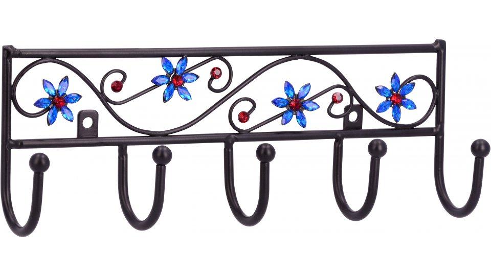 Hakenleiste Homberg, Blume,  Pflanze,  Blatt,  Kinder Stahl - Kunststoff schwarz matt pulverbeschichtet kristall | 0260x50x90 LA:155