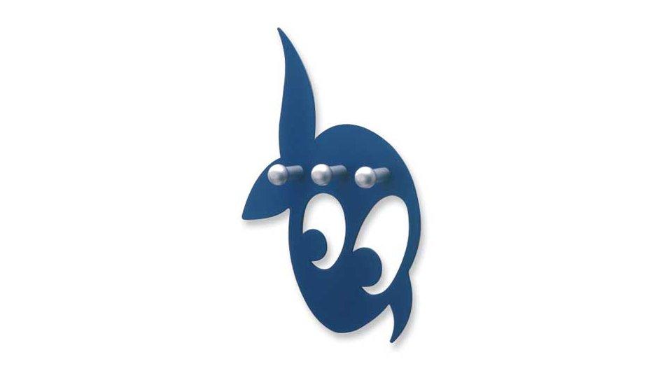 Hakenleiste Landsberg, Tier,  Meer,  Delphin,  Kinder Zinkdruckguß pulverbeschichtet - Blau, Zinkdruckguß pulverbeschichtet - Alufarbig | 154x131x28