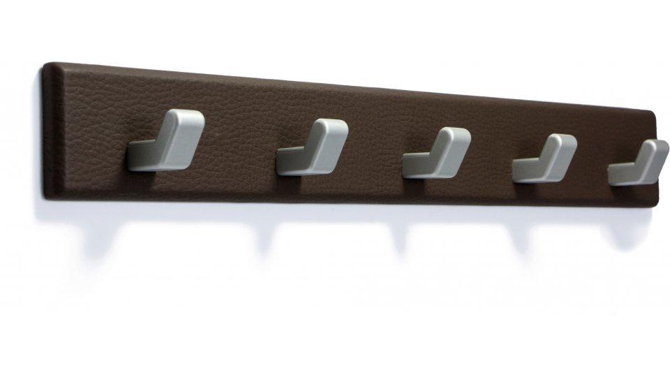 Hakenleiste Oberschleißheim, Schlicht Lederstruktur - Braun, Kunststoff metallisiert - Weißaluminium   402x52x39 LA:240