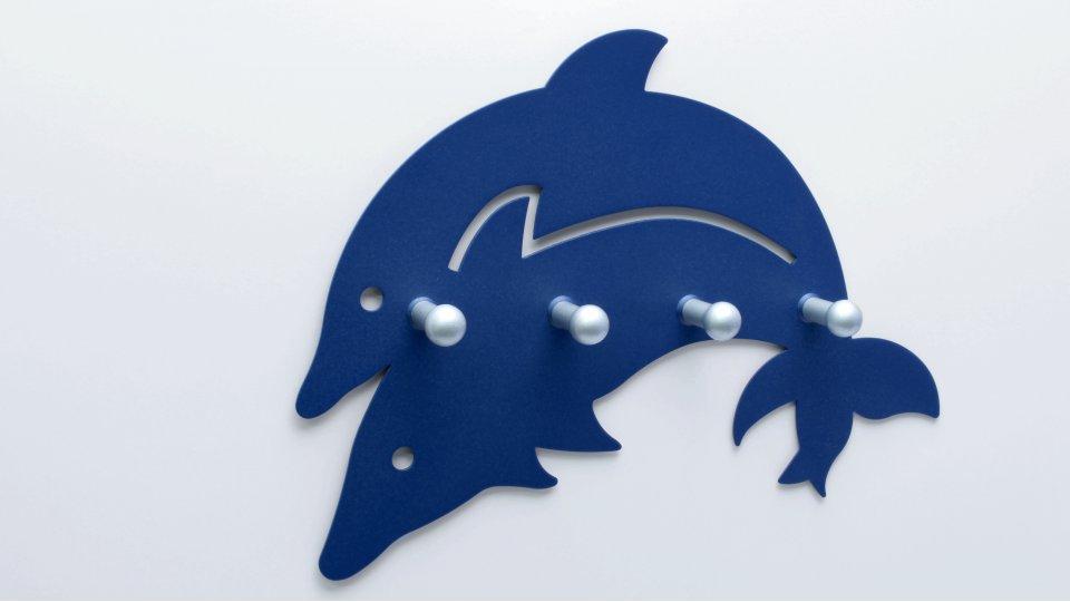 Hakenleiste Rheinbach, Tier,  Meer,  Delphin,  Kinder Zinkdruckguß pulverbeschichtet - Blau, Zinkdruckguß pulverbeschichtet - Alufarbig | 229x167x28
