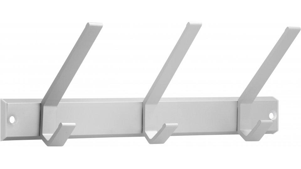 Hakenleiste Schopfheim, Schlicht Aluminium - Natur matt, Kunststoff - Weiß | 330x113x86 LA:312