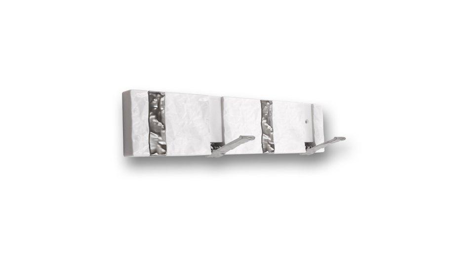Hakenleiste Simmerath, Klappbar,  Modern,  Design Kunststoff - Weiß, Zinkdruckguß - Chrom matt | 316x71x74 LA:252
