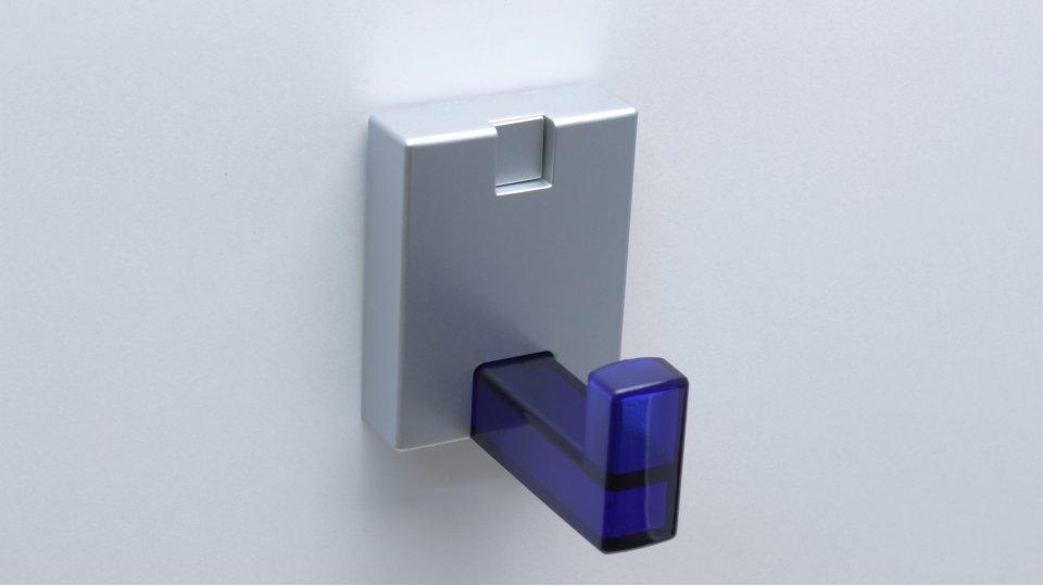 Kleiderhaken Goslar, Design,  Modern Kunststoff glaseffekt blau metallisiert weißaluminium metallisiert weißaluminium | 0043x46x32 LA:18