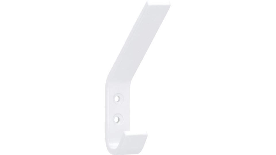 Kleiderhaken Grünberg, Schlicht,  Modern Aluminium reinweiß pulverbeschichtet | 0120x75x19 LA:16