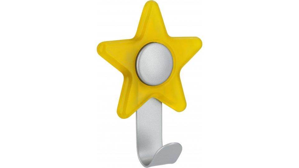 Kleiderhaken Hünfeld, Stern,  Kinder,  Design Stahl - Kunststoff glaseffekt gelb alufarbig pulverbeschichtet alufarbig | 0097x30x71