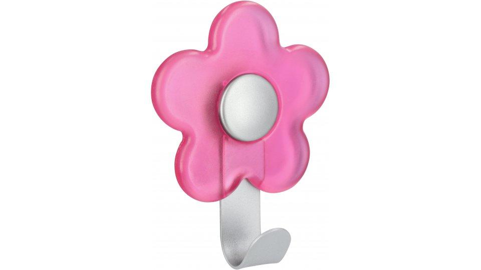 Kleiderhaken Kirchhain, Pflanze,  Blume,  Kinder,  Design Stahl - Kunststoff glaseffekt pink alufarbig pulverbeschichtet alufarbig | 0100x30x77