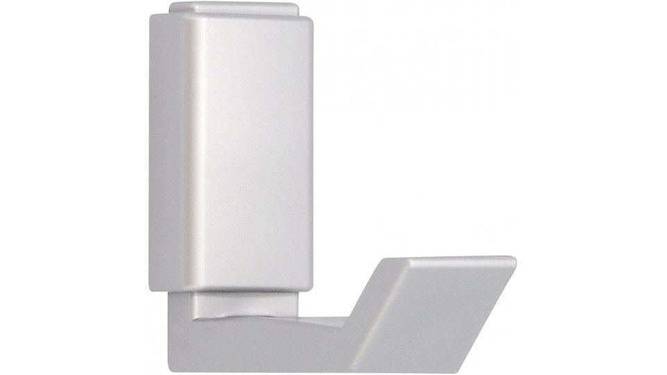 Kleiderhaken Lehrte, Schlicht Kunststoff metallisiert - Weißaluminium | 57x22x51 LA:20