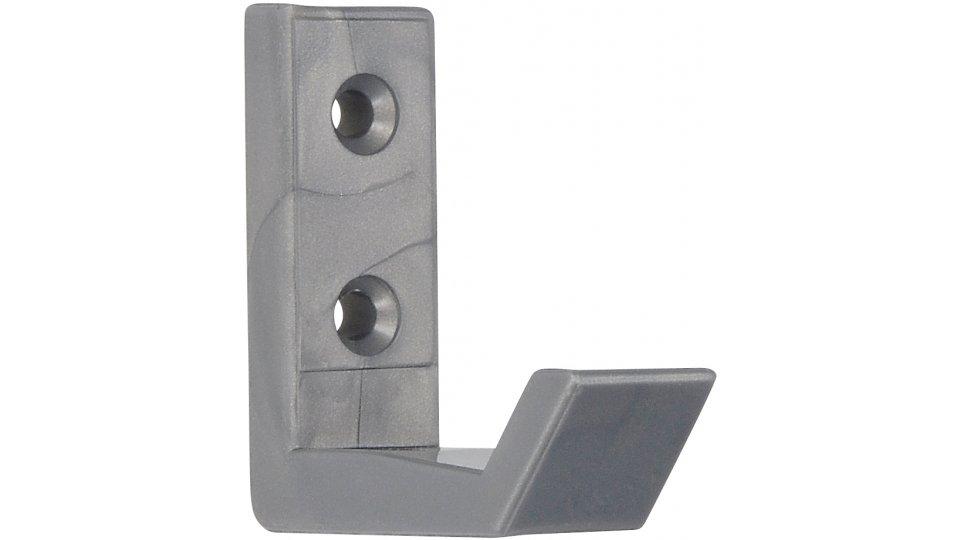 Kleiderhaken Mindelheim, Schlicht Kunststoff - Silbergrau | 0051x18x58 LA:19,5