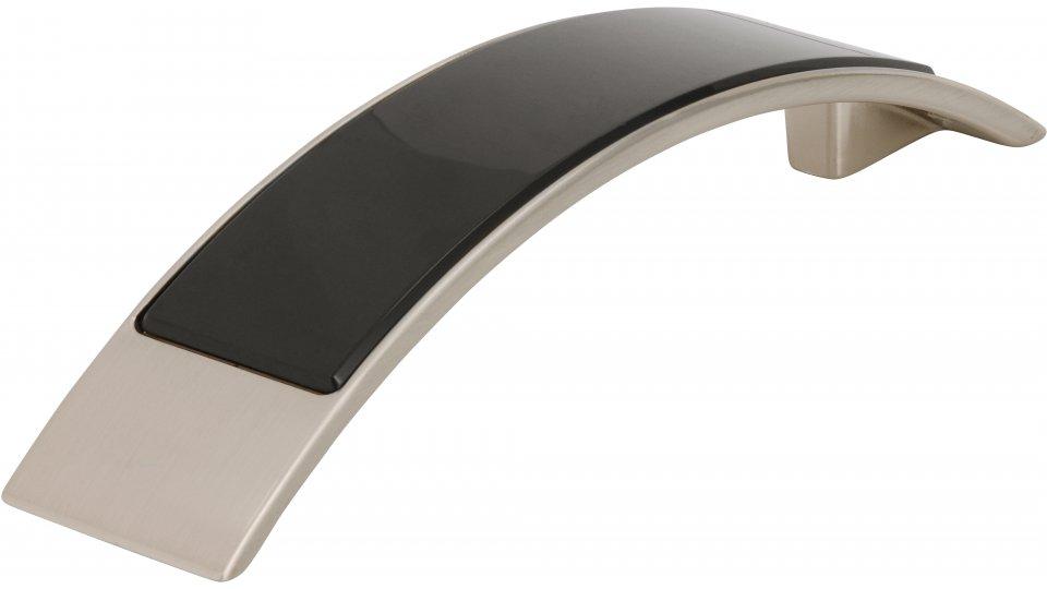 Möbelgriff Bad-Bentheim, Modern,  Design Druckguss - Kunststoff vernickelt feingeschliffen glaseffekt schwarz | 0137x26x30 LA:96