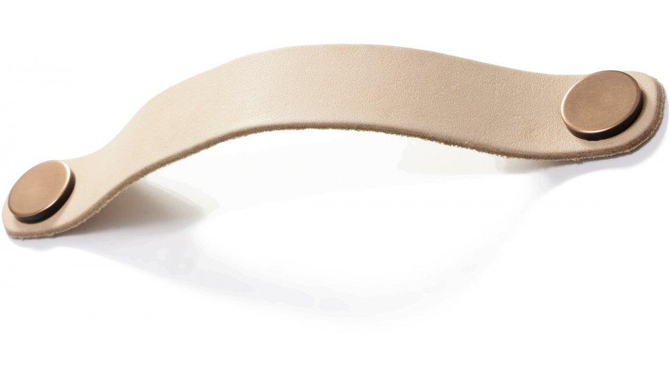 Möbelgriff Barby Leder - beige, Kunststoff Metallfolieneffekt - kupfer   0188x28x23 LA:160