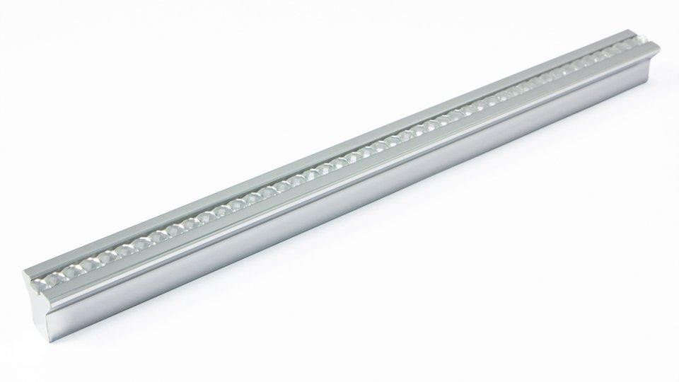 Möbelgriff Blumberg, Modern,  Design Kunststoff Metallfolieneffekt - silber glänzend, Juweleffekt - kristall | 0200x14x14 LA:160