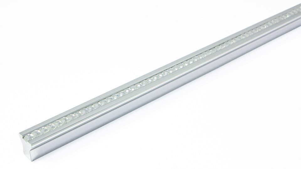 Möbelgriff Blumberg, Modern,  Design Kunststoff Metallfolieneffekt - Silber glänzend, Juweleffekt - Kristall | 340x14x14 LA:160 x 2