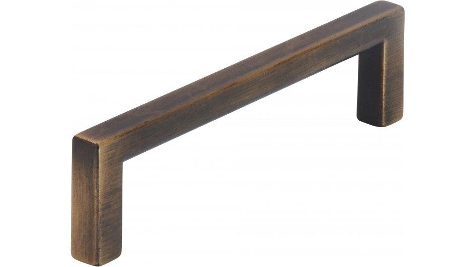 Möbelgriff Bruckmühl, Schlicht,  Vintage Zinkdruckguß - Messing schwarz gebürstet | 104x8x28 LA:96