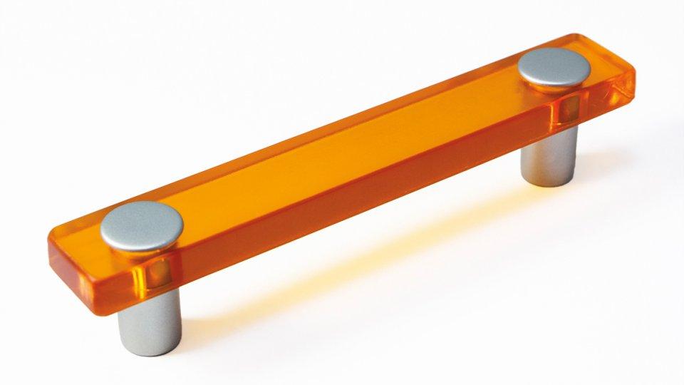 Möbelgriff Burgthann, Kinder Kunststoff Glaseffekt - orange, Kunststoff metallisiert - weißaluminium | 0126x26x20 LA:96