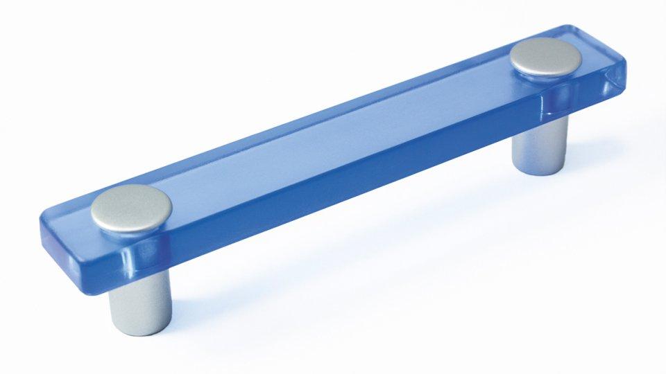 Möbelgriff Burgthann, Kinder Kunststoff Glaseffekt - hellblau, Kunststoff metallisiert - weißaluminium | 0126x26x20 LA:96