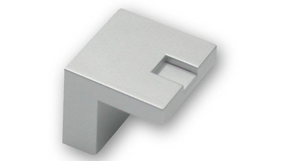 Möbelgriff + Einlage Alsdorf, Design Kunststoff metallisiert - Weißaluminium, Kunststoff metallisiert - Weißaluminium   28x28x25 LA:16