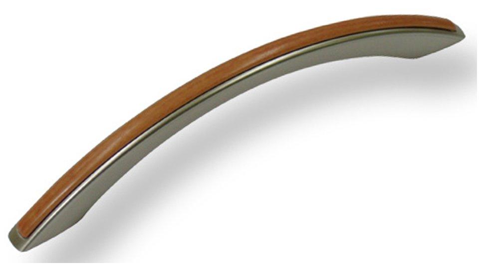 Möbelgriff + Einlage Herford, Modern Kunststoff metallisiert - Nickel, Kunststoff bedruckt - Holz | 166x10x30 LA:128