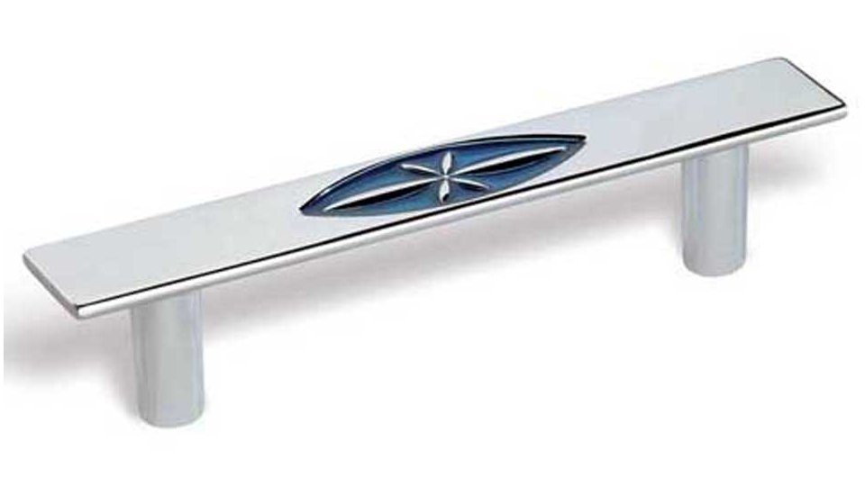 Möbelgriff Forst, Design Zinkdruckguß - Chrom glänzend, Zinkdruckguß - Blau | 134x21x28 LA:96