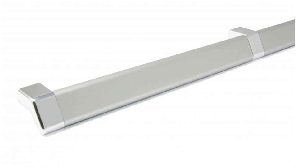 Möbelgriff Goldbach, Modern,  Design Kunststoff Gummieffekt - , Kunststoff Metallfolieneffekt - weißaluminium, Kunststoff metallisiert - chrom glänzend | 0399x29x22 LA:384