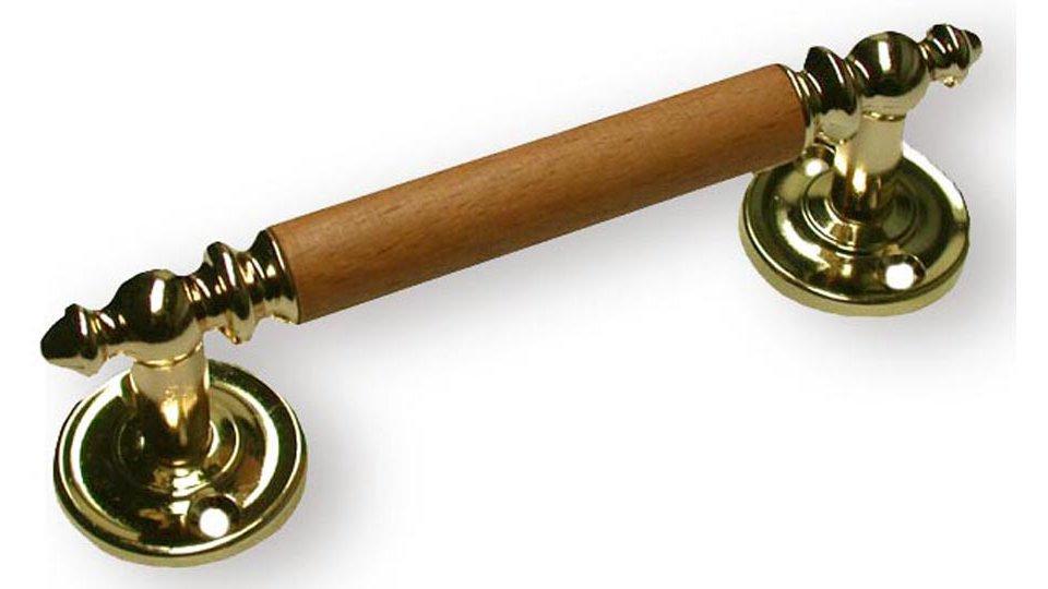 Möbelgriff Hildburghausen, Design,  Landhaus,  Vintage Holz - Druckguss buche lackiert auf eiche hell glänzend vermessingt | 0128x36x32 LA:96