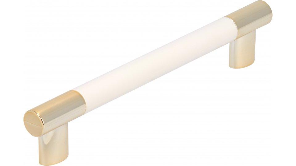 Möbelgriff Kerpen, Modern,  Design Kunststoff weiß metallisiert gold glänzend | 0154x28x12 LA:128