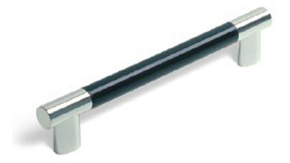 Möbelgriff Kerpen, Modern,  Design Kunststoff schwarz metallisiert chrom glänzend | 0154x28x12 LA:128