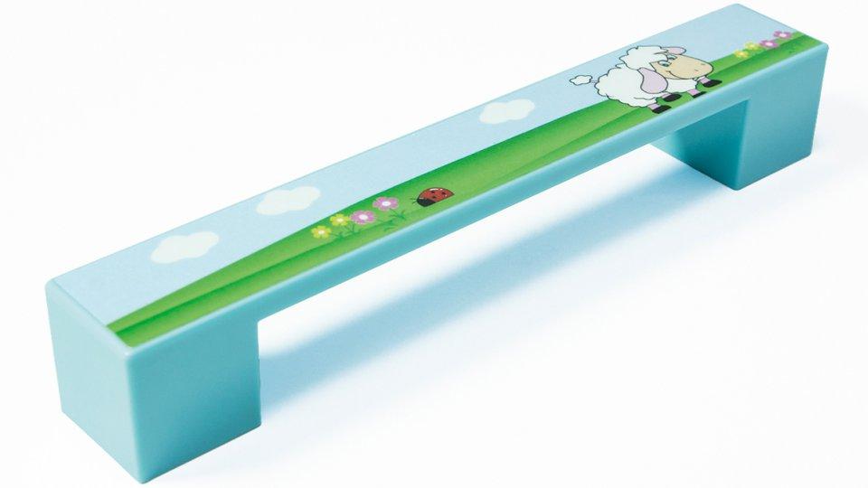 Möbelgriff Kirkel, Kinder,  Schaf,  Tier Kunststoff - babyblau, Kunststoff bedruckt - schaf   0164x25x25 LA:128
