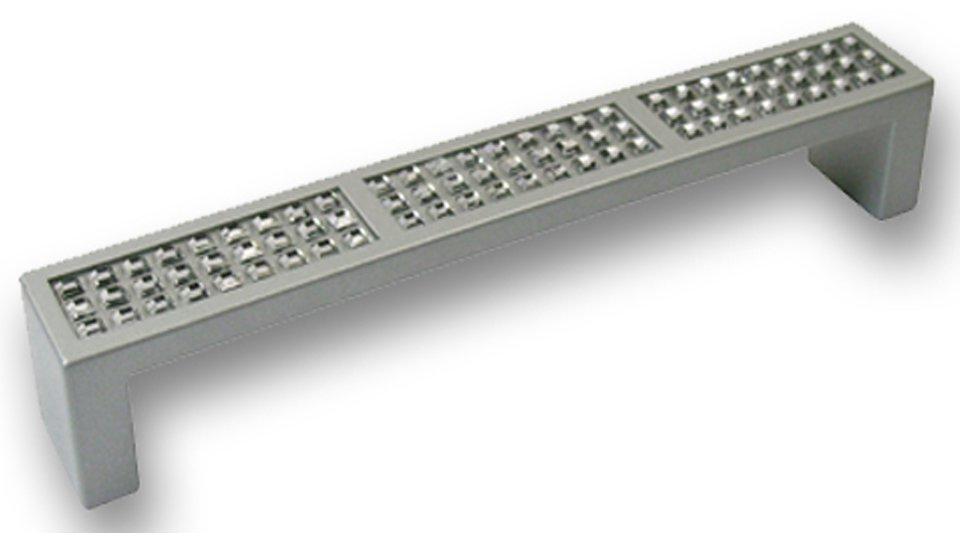 Möbelgriff Loxstedt, Design,  Modern Zinkdruckguß pulverbeschichtet - Alufarbig, Swarovski® - Kristalle | 136x20x22 LA:128
