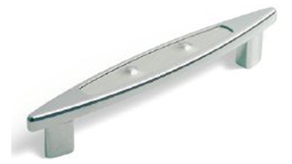 Möbelgriff Maintal, Design Zinkdruckguß - Chrom glänzend, Strukturplatte Pyramide - Edelstahl | 160x24x26 LA:128