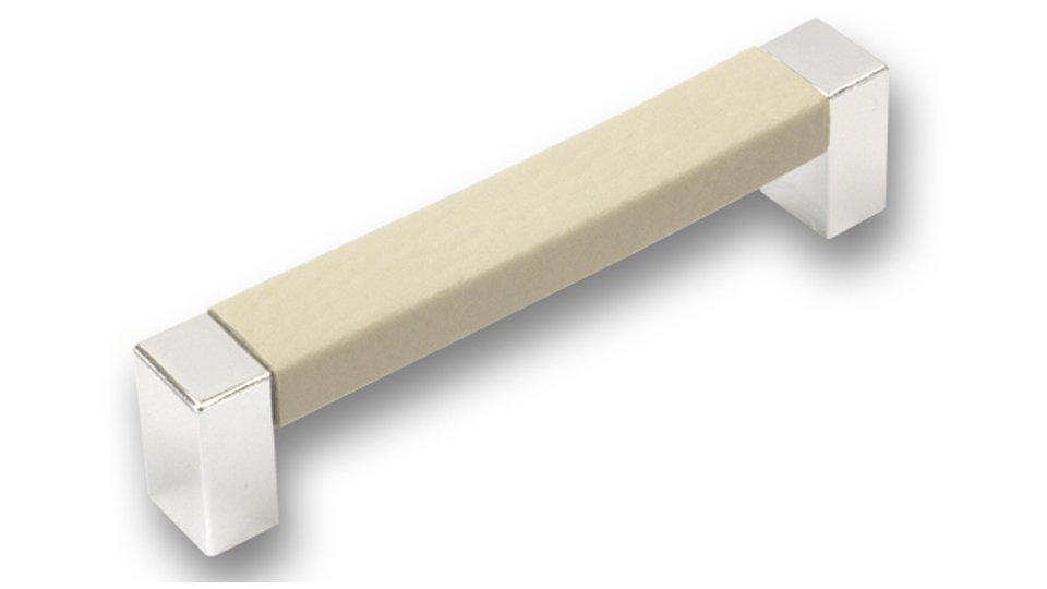 Möbelgriff Rodenbach, Modern Lederstruktur - Beige, Kunststoff metallisiert - Chrom glänzend   106x16x25 LA:96