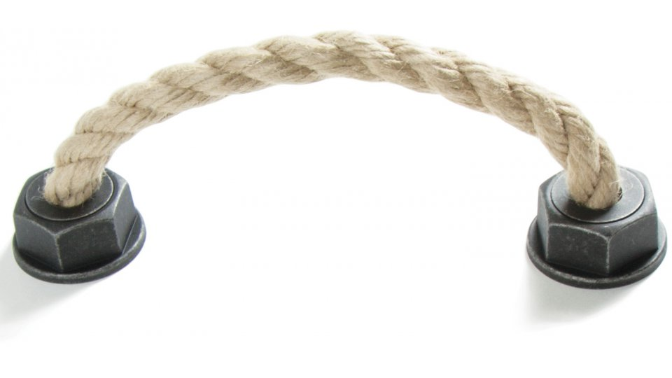Möbelgriff Rope, Landhaus,  Vintage,  Seil Kunststoff - grau-silber, Schnur - beige | 0165x50x37 LA:128