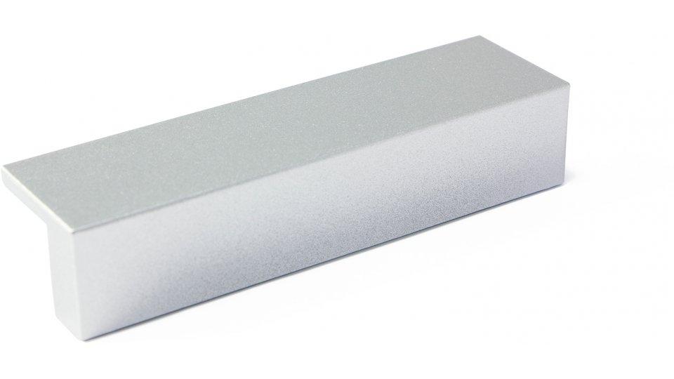 Möbelgriff Selfkant, Modern Kunststoff metallisiert - weißaluminium grob gefärbt   0094x19x26 LA:64