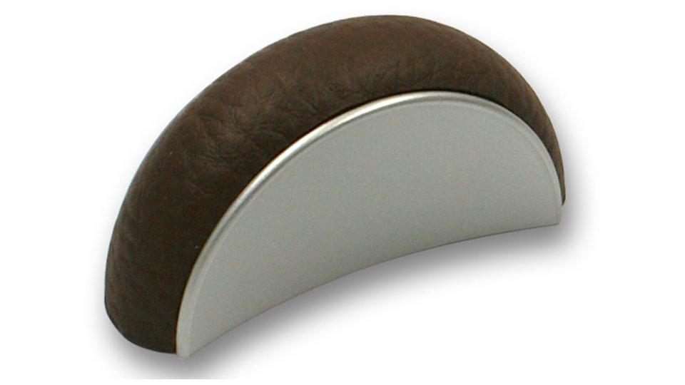 Möbelgriff Vienenburg, Modern Kunststoff metallisiert - Weißaluminium, Lederstruktur - Braun | 58x18x29 LA:32