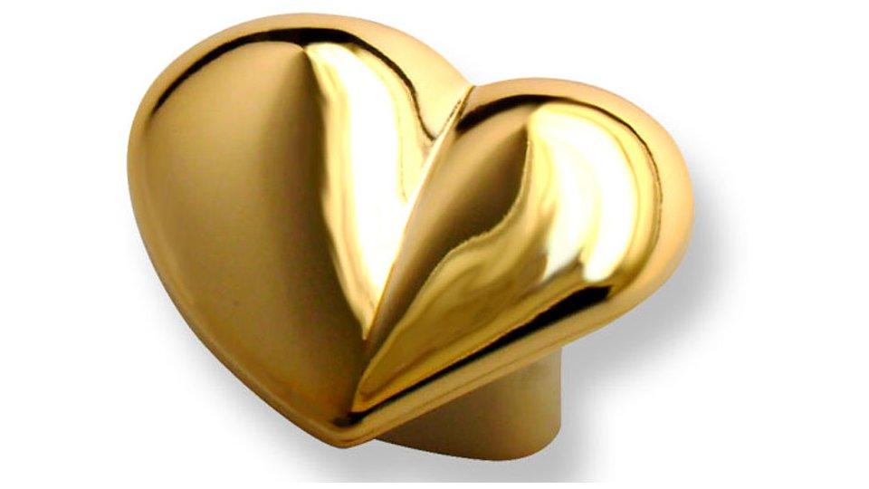 Möbelgriff Zweibrücken, Herz,  Kinder,  Klassisch,  Vintage,  Schlicht Kunststoff metallisiert gold glänzend | 0036x21x31 LA:16