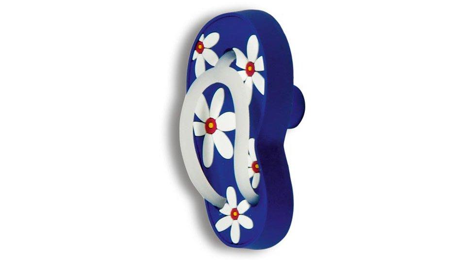 Möbelknopf Apen, Kinder,  Flip-Flop,  Rechts Kunststoff Gummieffekt - Weiß-Blau | 70x40x28