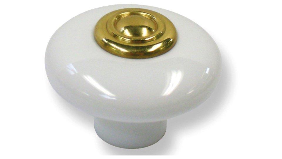 Möbelknopf Bad-Belzig, Landhaus,  Klassisch,  Vintage Porzellan - Weiß, Messing massiv - Messing poliert | 37x37x24