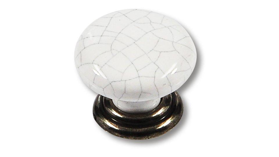Möbelknopf Bad-Liebenwerda, Klassisch,  Vintage Porzellan - Weiß, Porzellan-Crackedeffekt - Weiß-Grau gesprenkelt, Zinkdruckguß - Altsilberfarbig | 34x34x28