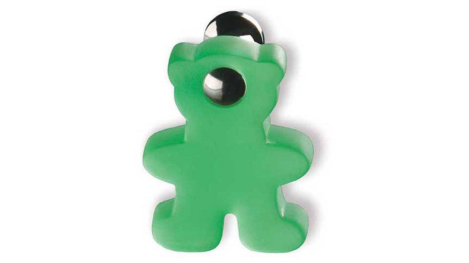 Möbelknopf Bargteheide, Kinder,  Bär,  Tier Kunststoff Glaseffekt - Hellgrün matt, Messing massiv - Messing poliert verchromt | 48x36x28