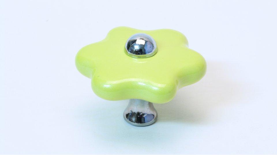 Möbelknopf Euskirchen, Blume,  Kinder Kunststoff metallisiert - Gelb, Zinkdruckguß - Chrom glänzend | 40x40x29