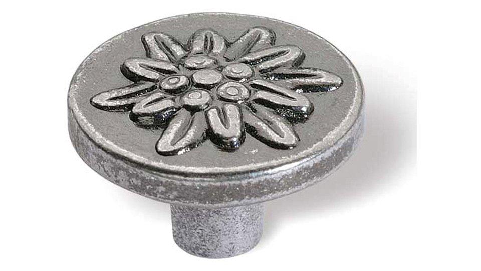 Möbelknopf Heiligenhaus, Pflanze,  Edelweiß,  Blume,  Design Druckguss altsilberfarbig | 0022x15x22